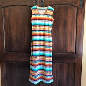 Serape Southwest maxi dress L Aztec Western tribal